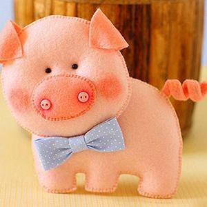 عکس عروسک نمدی خوک با الگو