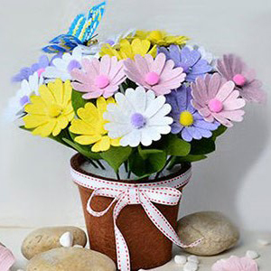 عکس آموزش ساخت کاردستی روز معلم با نمد - گلدان نمدی