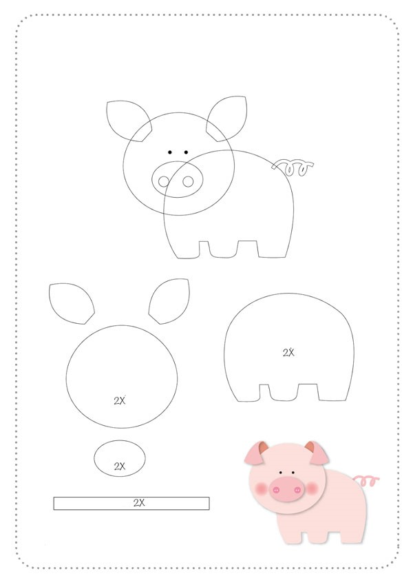 عکس الگوی عروسک نمدی خوک