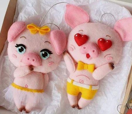 عکس مدل عروسک خوک نمدی