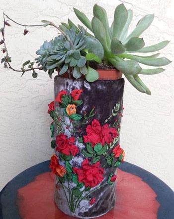 عکس گلدان با روکش مخمل
