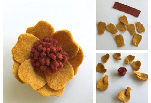 عکس ساخت گل با نمد