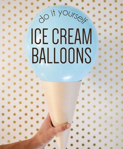 عکس بادکنک آرایی ساده به شکل بستنی قیفی