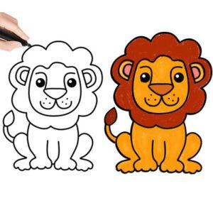 عکس آموزش نقاشی شیر به کودکان