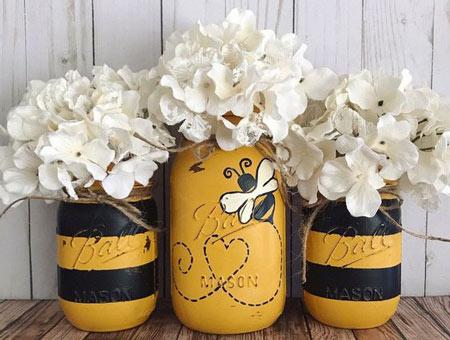 عکس طراحی زنبور عسل روی ظرف
