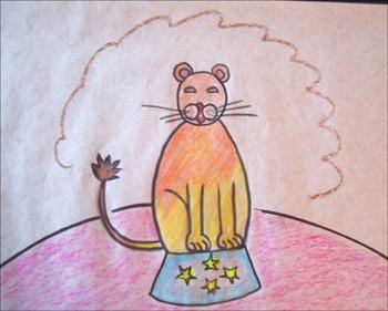 عکس آموزش نقاشی کودکان شیر