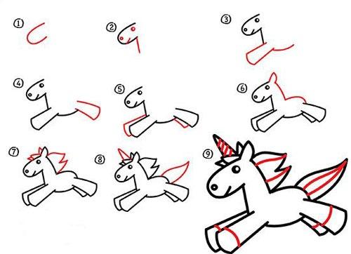 آموزش نقاشی اسب تک شاخ زیبا