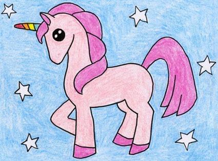 آموزش نقاشی اسب تک شاخ کودکانه