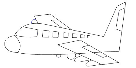 آموزش ساده نقاشی هواپیما برای کودکان
