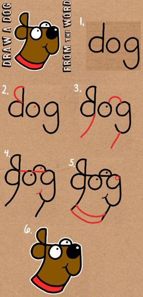 عکس آموزش نقاشی سگ با اشکال هندسی