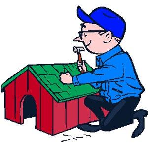 عکس ساختن خانه سگ چوبی