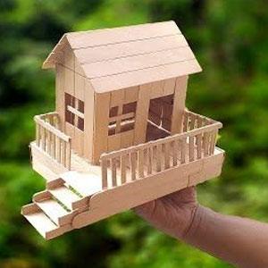 عکس آموزش ساخت خانه با چوب بستنی