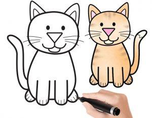 عکس آموزش نقاشی گربه کودکانه