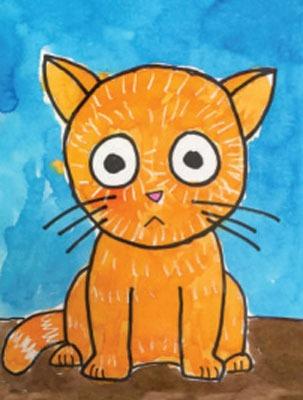 عکس نقاشی گربه با مداد رنگی